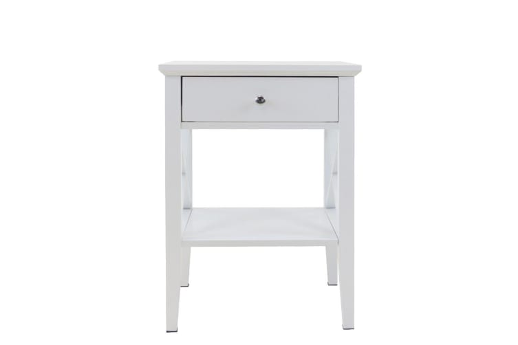 White Sofa Bedside Side Table 1 Drawer Wooden Storage Cabinet Bedroom Office