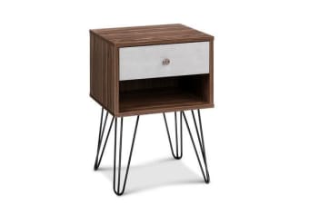Wire Legged Bedside Table with Drawer (White/Walnut)