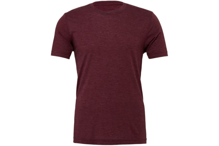 Canvas Mens Triblend Crew Neck Plain Short Sleeve T-Shirt (Maroon Triblend) (S)