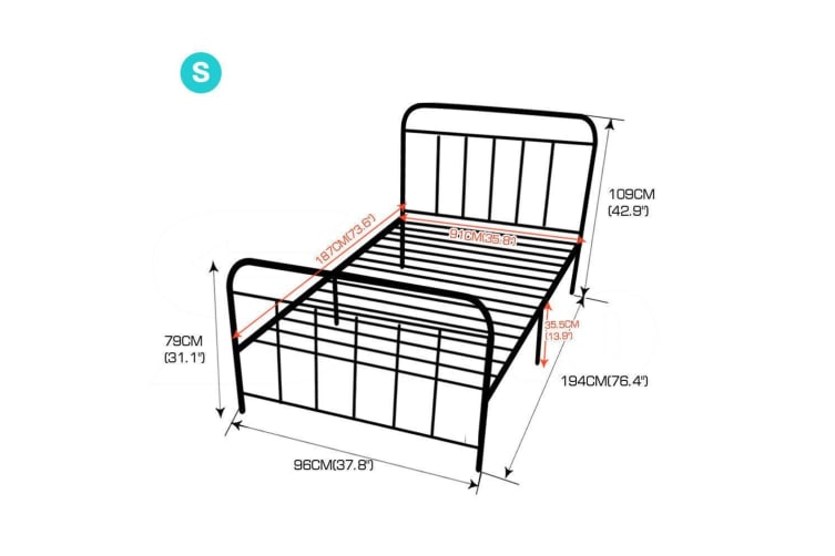 Levede QUEEN KING DOUBLE SINGLE Metal Bed Frame Mattress Base Platform Furniture