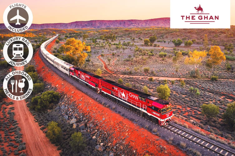 The Ghan: 5 Day Luxury Rail Package from Adelaide to Darwin Including Flights for Two (Departing ADL)