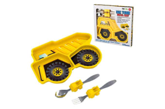 Kids Funwares Me Time Meal Set Spoon Plate Fork Baby Kids 18m+ Dump Truck Yellow