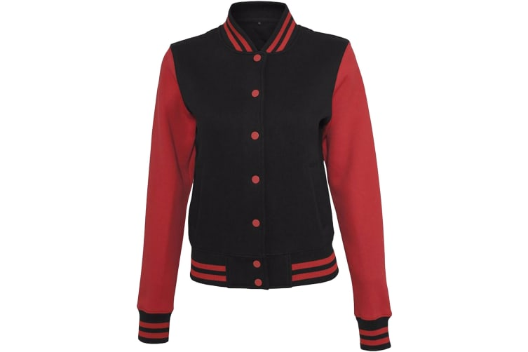 Build Your Brand Womens/Ladies Sweat College Jacket (Black/Red) (XS)