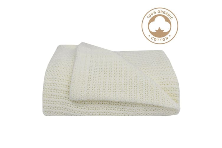 Living Textiles Organic Cot Cellular Blanket Natural white