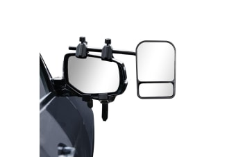 2 x Towing Mirrors Pair Heavy Duty Multi Fit Clamp On Towing Caravan 4X4 Trailer