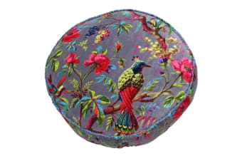 Riva Home Birds Of Paradise Floral Pattern Round Cushion Cover (Mink/Multicoloured)