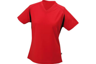 James and Nicholson Womens/Ladies V-Neck Running Top (Red/Black) (XL)