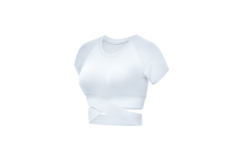 Short Sleeve Crop Tops For Women Workout Yoga Gym Top Lounge T Shirts White L