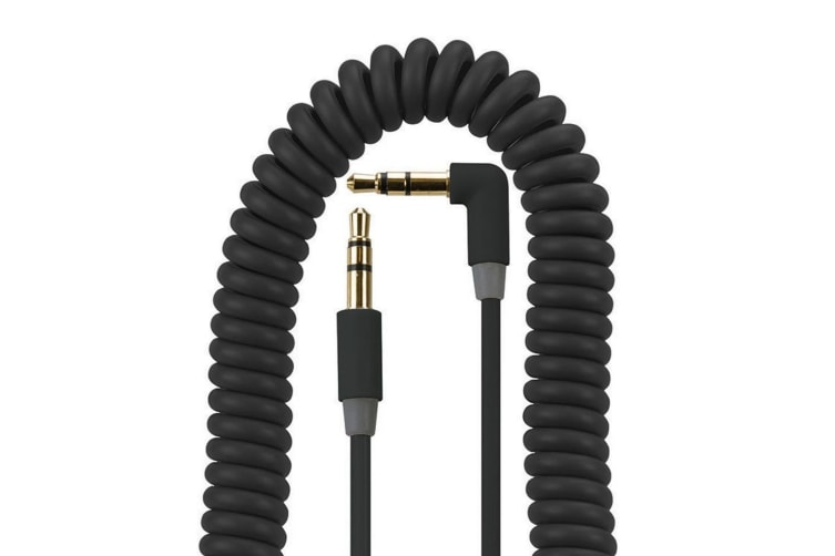 Gecko 1.8m 90 Degree Coiled 3.5mm Male to M Universal Aux Audio Cord Cable Black