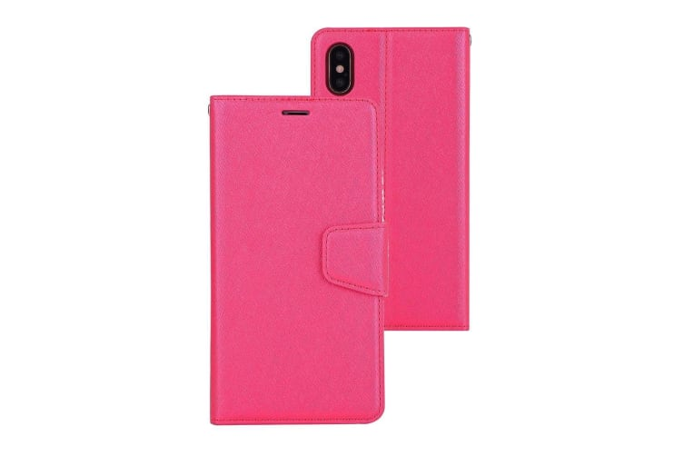 For iPhone XS X Wallet Case  Silk Textured Protective Leather Cover Magenta