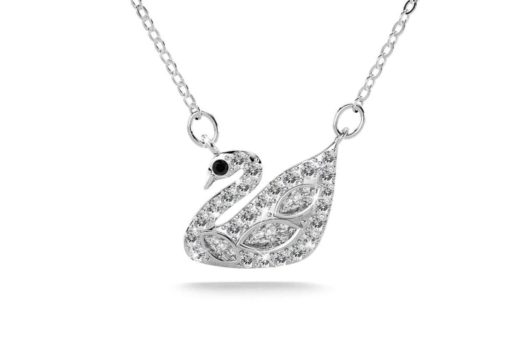 .925 Swans Upon Stars Necklace-Silver