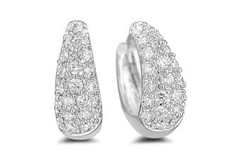 Tapered Sparkly Huggies Earrings-White Gold/Clear