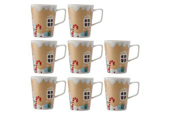 8PK Maxwell & Williams 450ml Gingerbread House Mug Cup Glass Hot Cold Coffee Tea