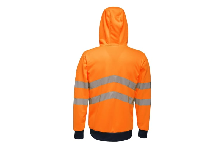 Regatta Mens Hi Vis Pro Full Zip Stretch Reflective Hoodie (Orange/Navy) (XXL)