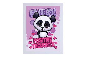 Handa Panda Positive Thoughts White Wooden Framed Print (White)