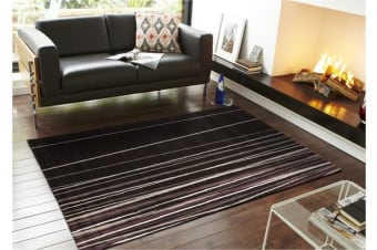 New Lines Rug Black Grey Cream Purple 230x160cm