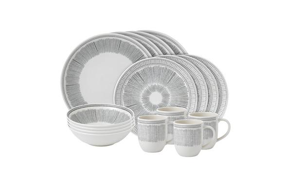 Royal Doulton Ellen DeGeneres Tableware Lines Dinner Set 16pc Grey