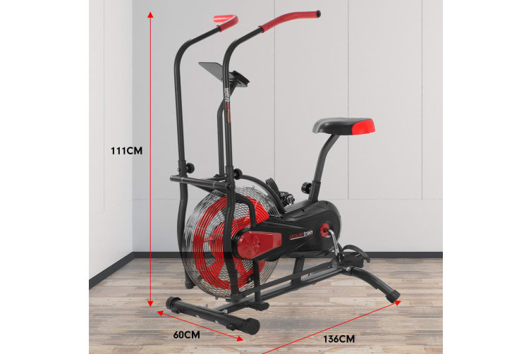 PowerTrain Air Resistance Exercise Red Bike Spin Fan Equipment Cardio