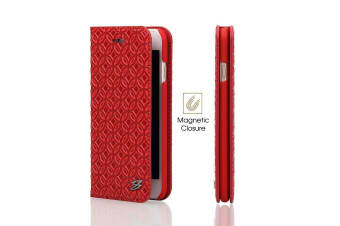 For iPhone 6S PLUS 6 PLUS Wallet Case Fierre Shann Coin Leather Cover Red