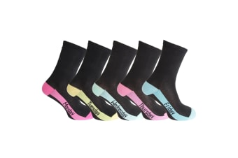 CottoniQue Womens/Ladies Premium Quality Day Socks (5 Pairs) (Blue/Pink/Green/Yellow/Fuchsia)