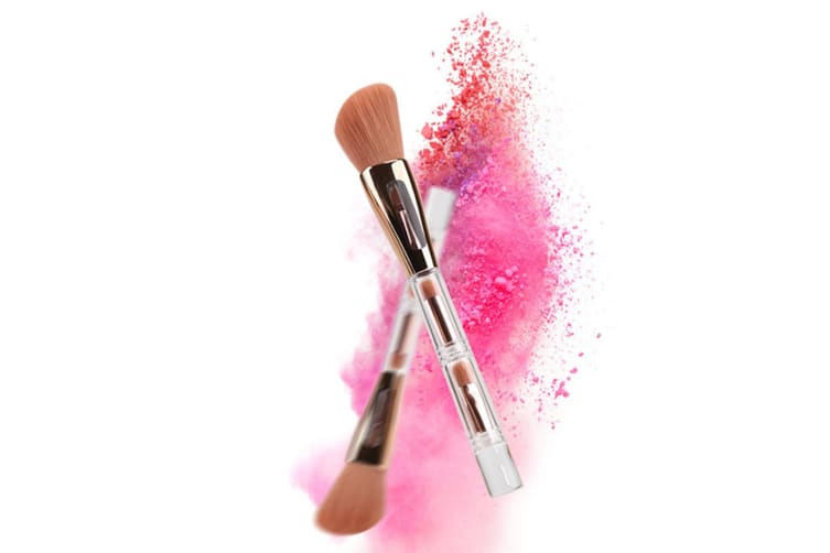 4 In 1 Cosmetic Brushes Portable Multi-Functional Integrated Cosmetic Makeup Brushes Set Brush White