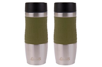 2x Oasis Cafe 380ml Stainless Steel Insulated Travel Drink Mug Flask Avocado GRN