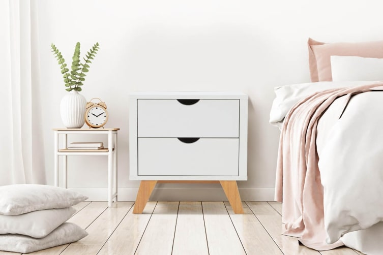 the latest 6dc7d d5210 Ovela 2 Drawer Bedside Table - Finse Collection (White)