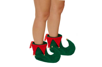 Christmas Shop Unisex Adults Deluxe Elf Boots (Green/Red)