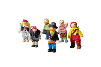 Wooden Pirate Dolls Bendable