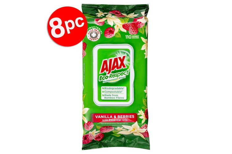 8x 110pc Ajax Eco Respect Multipurpose Cleaning Wipes Towelettes Vanilla/Berries