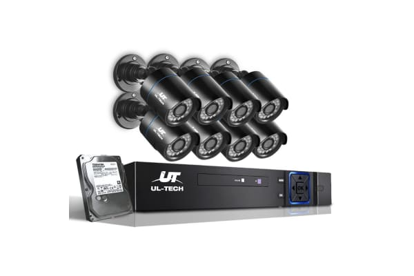 UL-TECH 1080P Eight Channel Security System with Cameras & 1TB Hard Drive (Black)