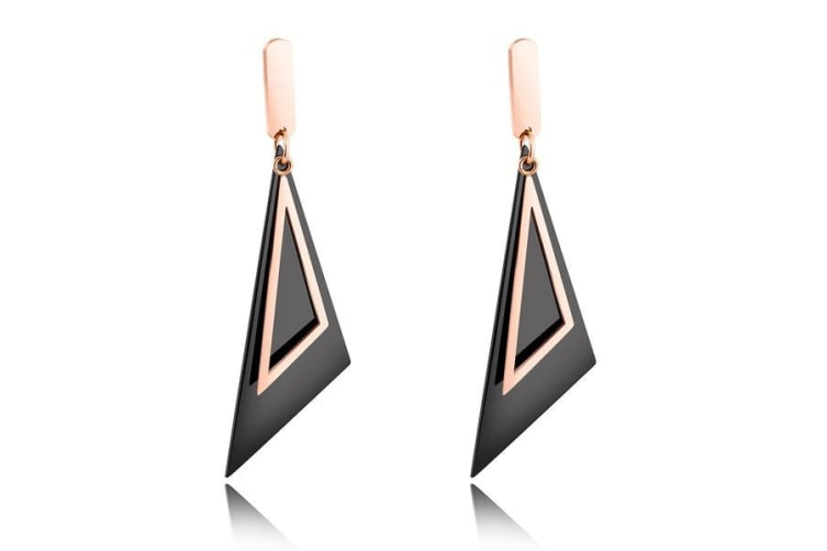 Drop Earrings Stylish 2 Tone - Rose Gold / Black