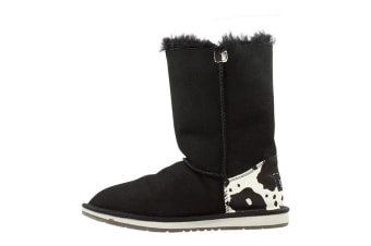 Auzland Cow Print Mid Bailey Button Ugg Boot