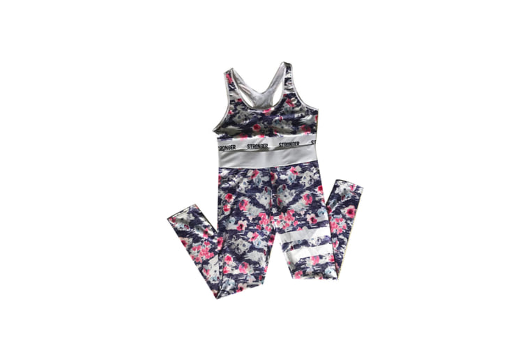 2 Pieces Floral Print Tracksuit Yoga Legging Crop Top Suit For Mother And Daughter - 4 (7-9 Years)