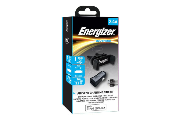 Energizer Car Kit with Vent Phone Holder and Lightning Connector Cable