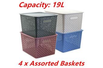 4 x LARGE Stack-able 19L Woven Plastic Storage Basket with Lid Bins Tubs Drawers
