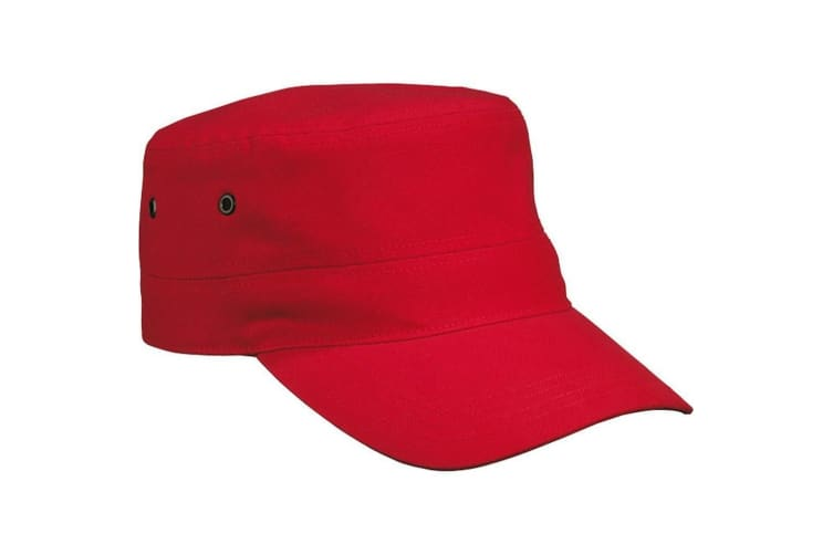 Myrtle Beach Adults Unisex Military Cap (Red) (One Size)