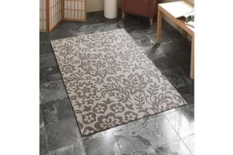 Indoor Outdoor Damask Rug Beige 270x180cm