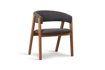 Fabric Dining Chair with PU Lacquer Finish (Grey)