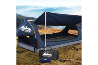 Weisshorn King Single Camping Swags Canvas Swag Tent w/ Mattress Dark Blue
