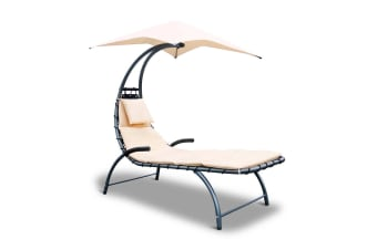 Hanging Chaise Lounge Chair Powder coated steel (Black/Beige)