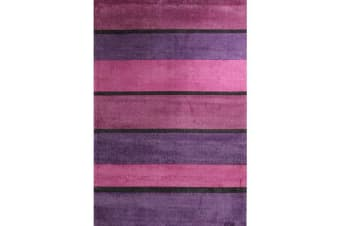 Modern Purple Pink Black Bands Rug 220x150cm