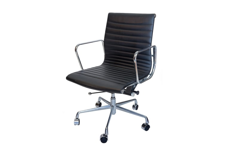Replica Eames Low Back Ribbed Leather Management Desk / Office Chair | Black