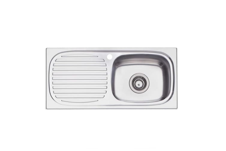 Oliveri Martini Sink 740 x 350 Single Right Hand Bowl with Left Hand Drainer Stainless Steel MR502