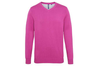 Asquith & Fox Mens Cotton Rich V-Neck Sweater (Orchid Heather) (M)