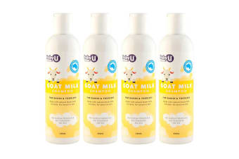 4x 250ml BabyU Natural Goat Milk Baby Shampoo All Skin Types Hair Care for Kdis