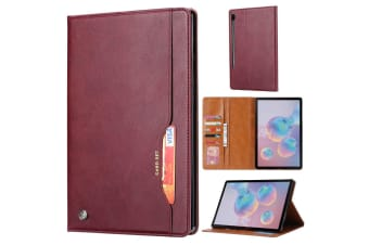 For Samsung Galaxy Tab S6 Case  Wallet PU Leather Flip Cover  Wine Red