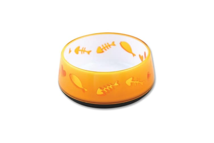 300ml Orange Love Cat Bowl - AFP Kitten Pet Food Water Feeding Anti Slip Dish