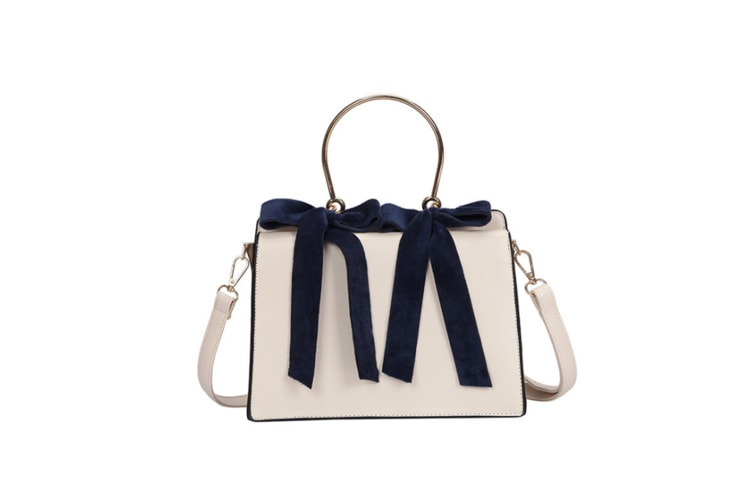 Ladies'Fashionable Handbag With Bow Knot And Circular Leisure Inclined Bag Beige