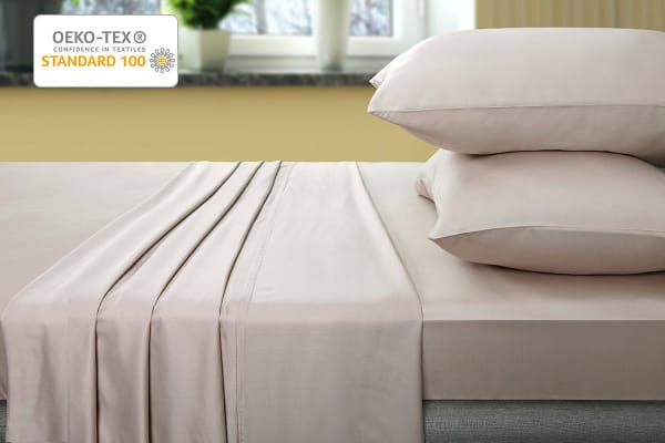 Ovela 400TC 100% Bamboo Bed Sheet Set (Double, Beige)